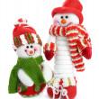 Two smiling snow man — Stock Photo