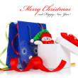 Christmas gift with ribbons and bow — Stock Photo