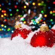 Christmas holiday decoration with white snow and red bowls — Foto de Stock