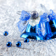 Christmas holiday decoration with blue bluebells - Stock fotografie