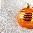 Christmas holiday decoration with gold ball — Stock Photo