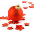 Christmas holiday red ball with stars isolated on white — Stock Photo
