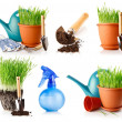 Set of green grass in the pot with shovel tool and ground — Stock Photo #6591209