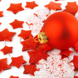 Royalty-Free Stock Photo: Christmas background with red ball and stars
