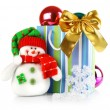 Christmas decoration with toy snowman — Stock Photo