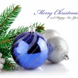 Christmas blue ball with branch firtree — Stock Photo