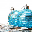 Christmas holiday decoration with blue ball — Stock Photo