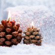 Christmas holiday decoration with burning candles — ストック写真