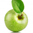 Stock Photo: Green apple fruits with leaf