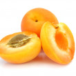 Three fresh apricot fruits — Stock Photo
