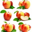 Set red apple fruits with cut and green leaves - Stock Photo