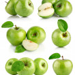 Set green apple fruits with leaf — Stock Photo