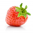Fresh red strawberry with green leaf isolated — Stock Photo