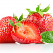 Set strawberry berry with cut and green leaf — Stock Photo