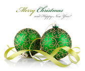 Two green ball with ribbon — Stock Photo