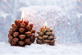 Christmas holiday decoration with burning candles — Stock Photo