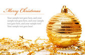 Christmas holiday decoration with gold bowl and stars — Stock Photo