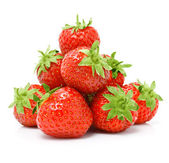 Red strawberry fruits isolated on white — Stock Photo