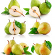 Stock Photo: Set fresh pear fruits with green leaf