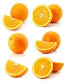 白で隔離され、新鮮なオレンジ色の果物のセット — ストック写真