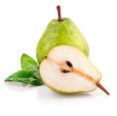 Fresh pear fruits with cut and green leaf — Stock Photo