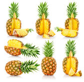 Set fresh pineapple fruits with cut — Stock Photo