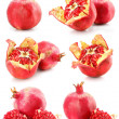 Collection of red pomegranate fruits healthy food isolated — Stock Photo