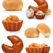 Stock Photo: Collection of sweet fancy cakes and croissant isolated