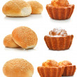 Collection of sweet cakes and rolls isolated — Stockfoto