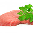 Slice of red meat isolated on white - Foto Stock