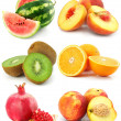 Collection of fruit isolated on white - Stock Photo