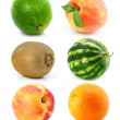 Collection of fruit isolated on white — Stock Photo