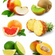Stock Photo: Set fruits with cut and green leaves