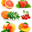 Set of fresh fruits with green leaves — Stock Photo