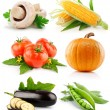 Set vegetable fruits isolated on white — Stock Photo