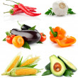 Stock Photo: Set vegetable fruits isolated on white