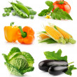 Set of vegetable fruits isolated on white - Stock Photo
