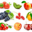 Set fresh fruits with green leaves isolated — Stock Photo