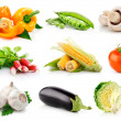 Set fresh vegetables with green leaves isolated — Stock Photo #6618344
