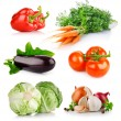 Stock Photo: Set fresh vegetables with green leaves