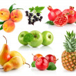 Set fresh fruits with leaf — Stock Photo