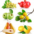 Set fresh fruits with green leaves — Stock Photo #6619610