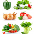Set fresh vegetables with green leaf — Stock Photo #6619643