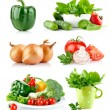 Set fresh vegetables with green leaf — Stock Photo