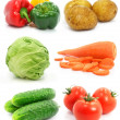 Collection of ripe fruits vegetables isolated — Stock Photo