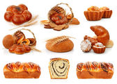 Set fresh breads with corn and sweet cakes — Stock Photo