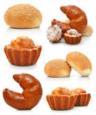 Collection of sweet fancy cakes and croissant isolated — Stock Photo