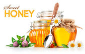 Sweet honey in glass jars with spoon and flowers — Stock Photo