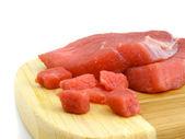Meat steak slice food isolaited — Stock Photo