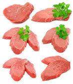 Colección de la carne en rodajas con perejil verde hojas — Foto de Stock